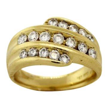 Estate 14K Yellow Gold Diamond Cocktail Ring Multi Row 1.25 TW Round Diamonds