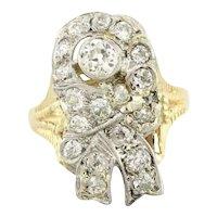 Vintage Old Euro Diamond Ribbon Ring 14K Yellow Gold 1.50 CTW Diamond Ladies