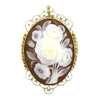 Antique Filigree Rose Cameo Brooch Pendant 14K Yellow Gold Ladies