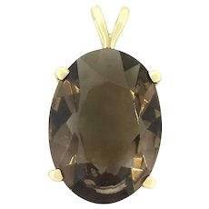 Vintage Large Smoky Quartz Pendant 14K Yellow Gold 17.00 CT Oval Cut Gemstone