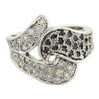 Estate 14K White Black Diamond Ring 1.15 CTW Natural Round Diamonds Ladies Sz 7