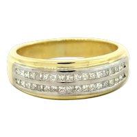 Estate 18K Yellow Gold Diamond Ring Band 1.00 TW Princess Cut Diamond Unisex