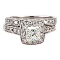 2.00 TW Certified Halo Diamond Engagement Wedding Ring Set 14K White Gold 6.5