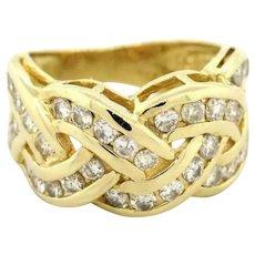 Estate 14K Yellow Gold Diamond Knot Ring 2.00 CTW Ladies Round Diamonds