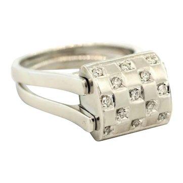 Reversible Unique Diamond Ring 14K White Gold 1.00 CTW Round Princess Cut Ladies