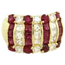 MAYORS Ruby & Diamond Statement Ring 18K Yellow Gold 3.50 CTW Gems Size 6.25