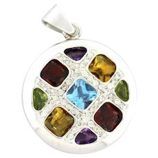18K White Gold Multi Gemstone Diamond Pendant 0.44 CTW Diamonds Amethyst Topaz