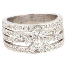 Estate 14K White Gold Floral Diamond Wide Dress Ring 1.65 CTW Diamonds Size 6