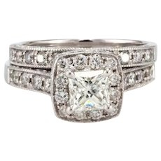 2.00 TW Certified Halo Diamond Engagement Wedding Ring Set 14K White Gold 6.5