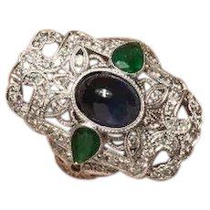 Vintage Sapphire Emerald & Diamond Statement Ring 18K White Gold 5.75 CTW