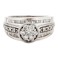 14K White Gold Diamond Floral Engagement Ring 1.50 CTW Round Baguette Accents