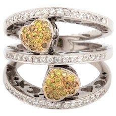 Yellow Diamond Heart Wide Ring 14K White Gold 1.05 TW Ladies Diamonds Size 6.25