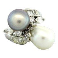 Vintage Diamond Pearl Bypass Ring Platinum 1.10 CTW Baroque Tahitian Akoya Pearl