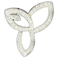 Estate Diamond Motif Pendant Ladies 18K White Gold 2.00 CTW Marquise Diamond