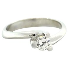Estate 18K White Gold Solitaire Diamond Engagement Ring .30 CT Round Size 6