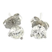 Stud Diamond Earrings 14K White Gold 1.01 CTW Round Diamonds Martini Setting NEW