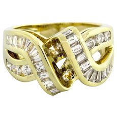 Estate Baguette Diamond Crossover Ring 14K Yellow Gold 2.00 TW Diamonds Ladies 6