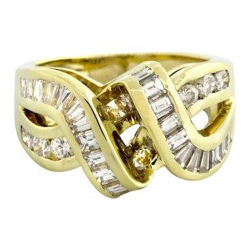 Estate Baguette Diamond Crossover Ring 14K Yellow Gold 2.00 TW Diamonds Ladies 6