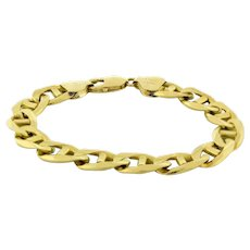 Men's Mariner Link Chain Bracelet Solid 14K Yellow Gold 8""