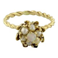 Vintage Opal Pearl Accent Floral Ring 14K Twisted Cable Yellow Gold Ladies 6.25