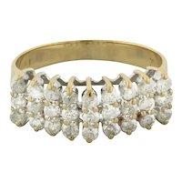 Estate 3-Row Diamond Ladies Band Ring 14K Yellow Gold 1.00 CTW Diamonds Size 9.5
