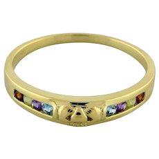Vintage Estate 10K Yellow Gold Claddagh Band Ring Multi Gemstone Size 11