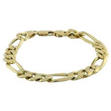 "Estate Figaro Chain Link Bracelet 14K Yellow Gold 29.3 GR 9.5 mm Wide Men's 9"""