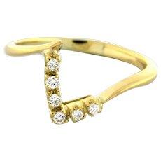 Vintage Diamond V Shaped Ring 14K Yellow Gold 0.15 CTW Round Dia Ladies Size 7