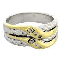 Estate Diamond Crossover Cable Ring 18K Two-Tone Gold 0.10 CTW Ladies Size 7