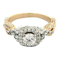 Estate Neil Lane Solitaire Halo Engagement Ring 14K Rose Gold 1.53 CTW Size 6.25