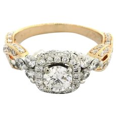 Estate Neil Lane Solitaire Halo Engagement Ring 14K Rose Gold 1.53 CTW Size 6.25