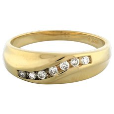 Men's Diamond Half Eternity Band Ring 14K Yellow Gold 0.25 CTW Channel Set 10.25
