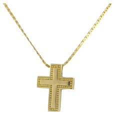 "Religious Cross Pendant Cross 14K Yellow Gold 0.75"" Length Unisex"