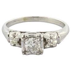 Estate Solitaire Accent Diamond Engagement Ring 14K White Gold 0.31 CTW ROU SZ 6