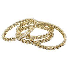 Estate Four Diamond Stackable Bangles 20.00 CTW Round DIA 18K Yellow Gold 8.75""