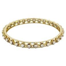"""Estate Diamond Stackable Bangle 5.00 CTW Round DIA 18K Yellow Gold 8.75"""""""