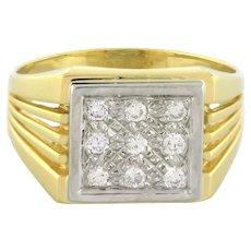 Men's Estate Diamond Cluster Ring 18K Two-Tone Gold 0.50 CTW Size 8.75