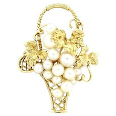 Mikimoto Designer Floral Basket Brooch Pin 14K Yellow Gold Cultured Pearls
