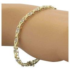 "Estate Diamond X Link Tennis Bracelet 10K Yellow Gold 0.70 CTW Diamonds 7.25"""