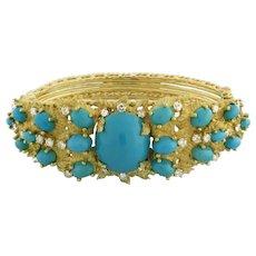 "Estate Vintage Turquoise Diamond Ladies Bangle 18K Yellow Gold 2.00 CTW 6.25"""