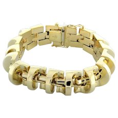 "Estate Fancy Link 14K Yellow Gold Bracelet Unisex 7.5"" 16 MM Wide"