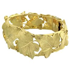 "Vintage 18K Yellow Gold Leaf Link Hefty Bracelet Ladies 7"""
