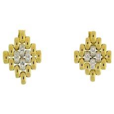 """Estate Diamond Weaved Drop Dangle Earrings 18K Two-Tone Gold 0.20 CTW 1.25"""""""
