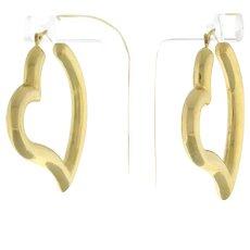 """Vintage Estate Heart Hoop Earrings in 14K Yellow Gold Ladies Girls 1.5"""""""