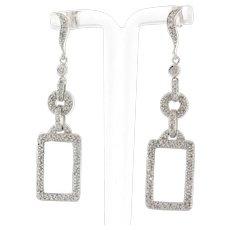 Estate Cluster Diamond Open Rectangle Earrings 14K White Gold 1.25 CTW Diamonds