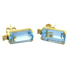 Vintage Aquamarine Gemstone Diamond Drop Stud Earrings 14K Yellow Gold 1/2""