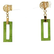 Vintage Jade Rectangle Drop Dangle Earrings 14K Yellow Gold Chinese Character