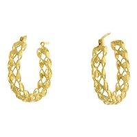Estate Lattice Circle Hoop Earrings 14K Yellow Gold 29 mm Round Hinged Hoop