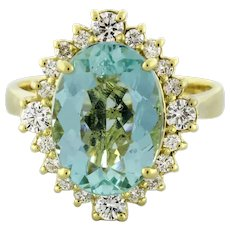 NEW 18K Yellow Gold Lady's Aquamarine Diamond Ring 6.9 gr 4.72 CTW Size 7.25