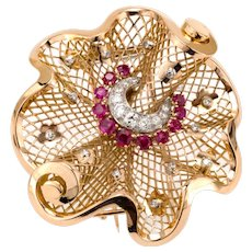 Collectible Estate Ruby Diamond Wreath Brooch Pin 18K Yellow Gold 2.00 CTW Gems